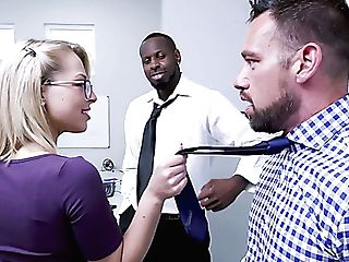 Real Office Whore Zoey Monroe Works On Lollipops Of Black And Milky...