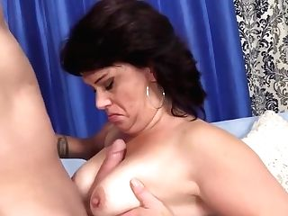 Granny Takes A Stiff Hard-on In Her Mouth And Twat