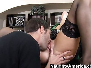 Rough Fuck Of Chic Cougar India Summer In Fancy Black Stockings And...