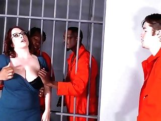 Huge-titted Maggie Green Has Interracial Threesome In Jail